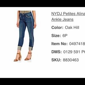 NWT NYJD Alina Embroidered Ankle Jeans